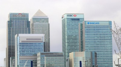 Landscape view of big business bank buildings including Citi, HSBC, and Barclays