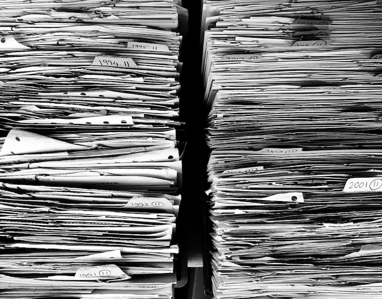 A long series of files, folders and records