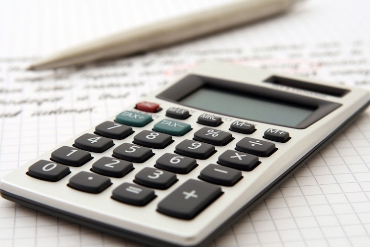 Photo of calculator being used for accountancy