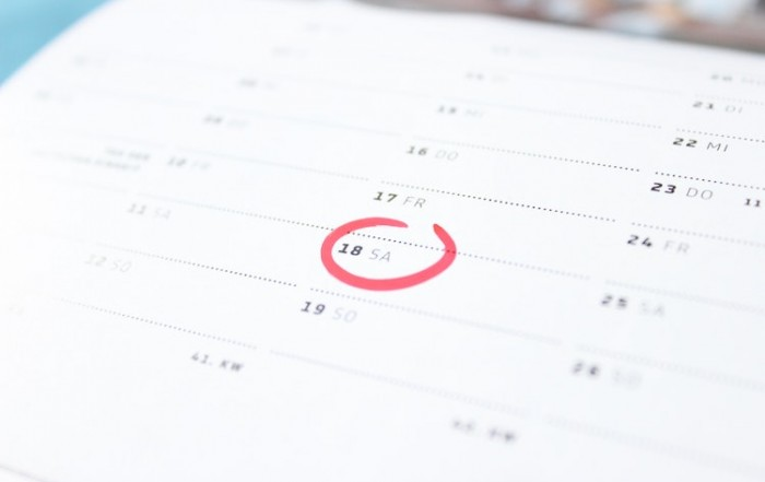Calendar showing date of due payment.