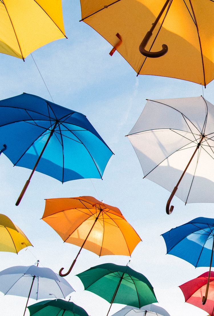 Umbrellas in the sky. Illustrating umbrella companies.