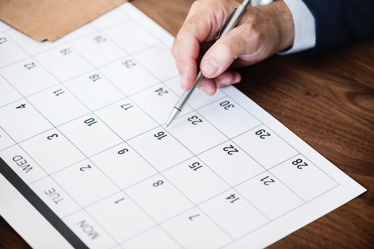 Calendar showing when dividends can be paid.