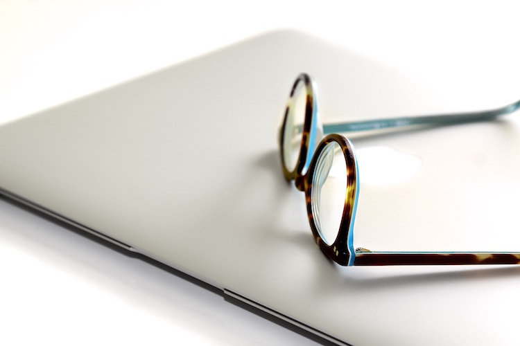 Glasses with laptop.