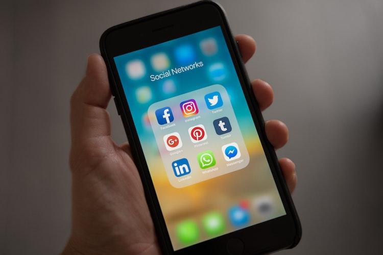 Social media on an iphone.