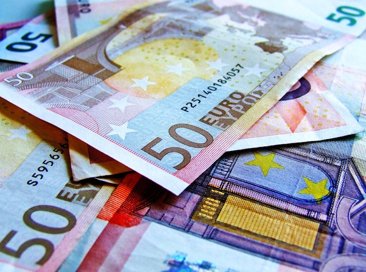 Euro notes in a pile.