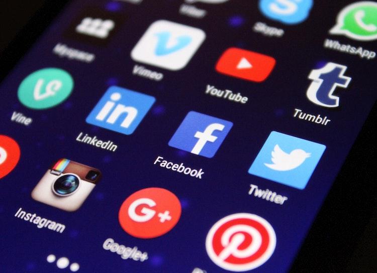 Social Media App buttons close up